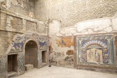 Mosaic in House of Neptune and Amphitrite Herculaneum Naples Italy. City of Herculaneum near Naples, Italy which was destroyed and buried during the eruption of royalty free stock photos