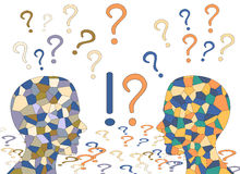 Mosaic human brain and colorful question marks, Stock Image