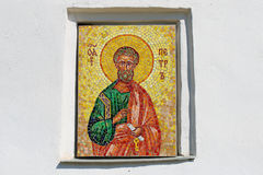 Mosaic icon of the Apostle Peter on the wall of a medieval Church of the Apostles Peter and Paul. Pskov, Russia Royalty Free Stock Image
