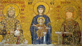 Mosaic icon in Cathedral mosque Hagia Sofia. Christian mosaic icon in Cathedral mosque Hagia Sofia in Istanbul, Turkey. Hagia Sophia is the greatest monument of royalty free stock photography