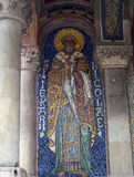Bucharest, Romania: Mosaic icon of St Nicholas in narthex of Orthodox Church, Antim Monastery. Mosaic icon of St Nicholas in narthex (outside porch) of the royalty free stock images