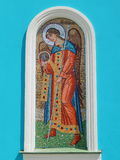 A mosaic icon on the wall of the church. of the Nativity Of The Blessed Virgin Mary (19th century). A mosaic icon on the wall of the church. of the Nativity Of royalty free stock photo