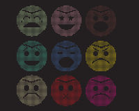 Mosaic icons of smiley faces. Mosaic icons of smiley faces isolate on black stock illustration