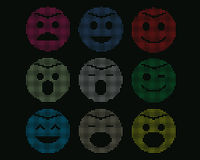 Mosaic icons of smiley faces. Mosaic icons of smiley faces isolate on black royalty free illustration