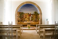 Mary Magdalene Mosaic Chapel -at Magdala, Israel. A mosaic illustration of Jesus with Mary Magdalene in a small chapel in the Boat and Women`s Atrium at Magdala royalty free stock photos