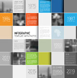 Mosaic infographic template with photos Stock Image