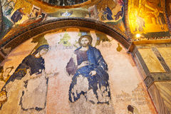 Mosaic interior in Chora church at Istanbul Turkey royalty free stock images