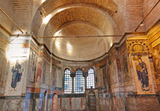 Mosaic interior in Chora church at Istanbul Turkey Royalty Free Stock Photo