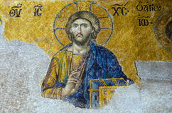 Mosaic of Jesus Christ. Found in the old church of Hagia Sophia in Istanbul, Turkey Stock Images