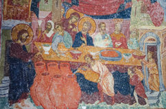 Mosaic of Jesus Christ at dinner Royalty Free Stock Images