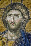 Mosaic Jesus Christ figure, portrait. Mosaic Jesus Christ figure on the walls of historical Hagia Sophia, Istanbul, Turkey stock photo