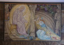 Mosaic of Jesus Christ forgiving the immoral woman, Amsterdam, The Netherlands. Pictured is a mosaic of Christ forgiving the immoral woman. It is located in stock photography