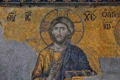 Mosaic of Jesus Christ in Hagia Sophia in Istanbul, Turkey Royalty Free Stock Photography