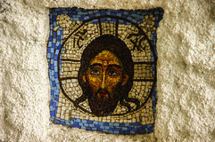 Mosaic of Jesus Christ in the Orthodox monastery. Ostrog in Montenegro Royalty Free Stock Photography