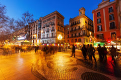 mosaic by Joan Miro on la Rambla in evening Stock Image
