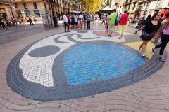 Mosaic by Joan Miro on Rambla Royalty Free Stock Images