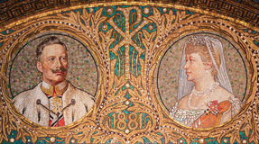 Mosaic of Kaiser Wilhelm II. GEROLSTEIN, GERMANY - OCTOBER 10, 2015: Mosaic of Kaiser Wilhelm II, the last German Emperor and King of Prussia from 1888 to 1918 Royalty Free Stock Photo