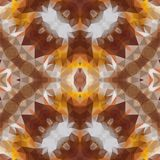 Mosaic kaleidoscope seamless pattern background - brown, yellow, orange and gray colored. Mosaic kaleidoscope seamless pattern texture background - brown, yellow Stock Photo
