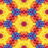 Mosaic kaleidoscope seamless pattern background - colorful colored with white grout Royalty Free Stock Images