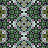 Mosaic kaleidoscope seamless pattern background - emerald green and purple colored with gray grout. Mosaic kaleidoscope seamless pattern texture background vector illustration