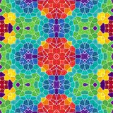Mosaic kaleidoscope seamless pattern background - full color colored with white grout Royalty Free Stock Photography