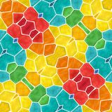 Mosaic kaleidoscope seamless pattern background - full color spectrum colored with white grout Stock Photography