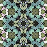 Mosaic kaleidoscope seamless pattern background - full colored with black grout Stock Image