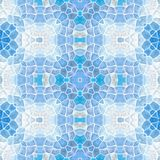 Mosaic kaleidoscope seamless pattern background - light blue colored with white grout Stock Image