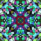 Mosaic kaleidoscope seamless pattern background - multi colored with black grout Stock Image