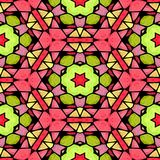 Mosaic kaleidoscope seamless pattern background - pink green yellow colored with color black grout. Mosaic kaleidoscope seamless pattern texture background Royalty Free Stock Photo