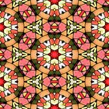 Mosaic kaleidoscope seamless pattern background - pink, orange and green colored with black grout Royalty Free Stock Photos