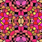 Mosaic kaleidoscope seamless pattern background - pink red yellow colored with color black grou Royalty Free Stock Image