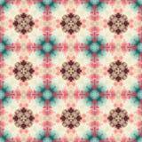 Mosaic kaleidoscope seamless pattern background - retro pastel colors - brown, pink, blue, green, beige Royalty Free Stock Image