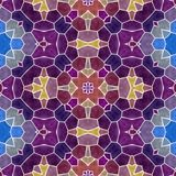 Mosaic kaleidoscope seamless pattern background - purple and blue colored with white grout Stock Images