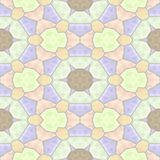 Mosaic kaleidoscope seamless texture background - light pastel colored with gray grout - orange, green, brown, purple, pin. Mosaic kaleidoscope seamless pattern stock illustration