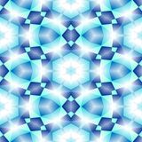Mosaic kaleidoscope seamless texture background - medium blue, cyan colored with white shining stars. Mosaic kaleidoscope seamless pattern texture background stock illustration