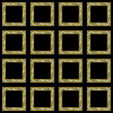 Mosaic knot wallpaper frames. A set of 16 mosaic knot frames on a black wallpaper background Royalty Free Stock Photos