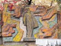Mosaic with Lenin on the wall of an ordinary building of the capital of Kyrgyzstan Bishkek. stock images