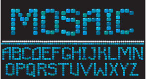 Mosaic letters. In blue colors - alphabet set vector illustration