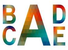 Mosaic alphabet letters A, B, C, D, E Stock Image