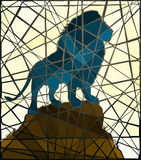 Mosaic lion. Editable vector mosaic illustration of a male lion standing on a rocky outcrop Royalty Free Stock Images