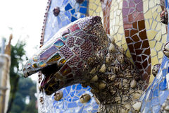 Mosaic lizard deatail at Parc Guell, Barcelona Stock Images