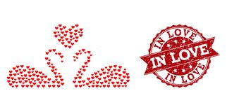 Valentine Heart Composition of Love Swans Icon and Rubber Watermark stock illustration
