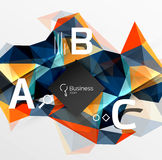 Mosaic low poly abstract background with infographics. Abc options with text. Vector template background for workflow layout, diagram, number options or web Royalty Free Stock Photos
