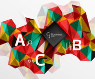 Mosaic low poly abstract background with infographics Stock Photography