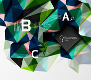 Mosaic low poly abstract background with infographics. Abc options with text. Vector template background for workflow layout, diagram, number options or web Royalty Free Stock Image