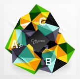 Mosaic low poly abstract background with infographics. Abc options with text. Vector template background for workflow layout, diagram, number options or web Royalty Free Stock Photography