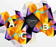 Mosaic low poly abstract background with infographics. Abc options with text. Vector template background for workflow layout, diagram, number options or web stock illustration