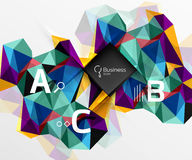 Mosaic low poly abstract background with infographics. Abc options with text. Vector template background for workflow layout, diagram, number options or web Royalty Free Stock Images
