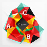 Mosaic low poly abstract background with infographics. Abc options with text. Vector template background for workflow layout, diagram, number options or web Royalty Free Stock Photo